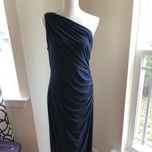 Betsy and Adam Long formal navy one shoulder gown